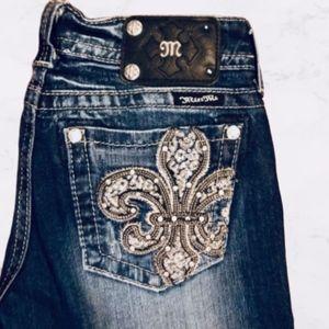 Miss Me Fleur De Lis Rhinestone Boot Cut Jeans